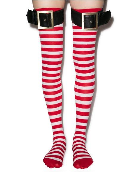 Santa Striped Thigh Highs