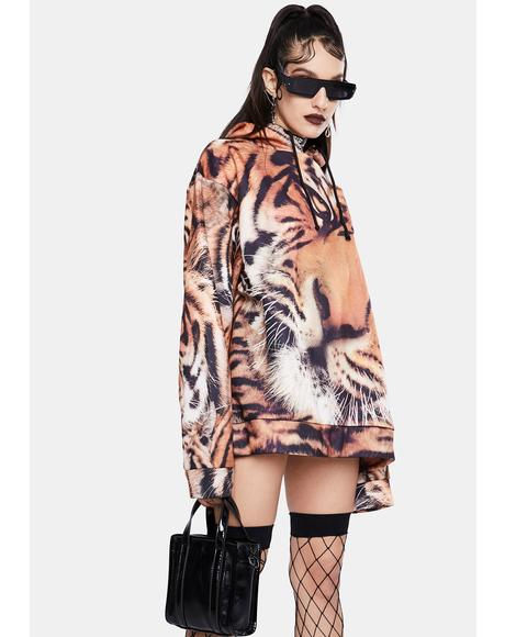 Tiger Face Print Oversized Hoodie