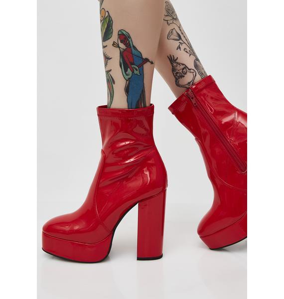 Sugar Thrillz Shinin' Like A Ruby Ankle Boots
