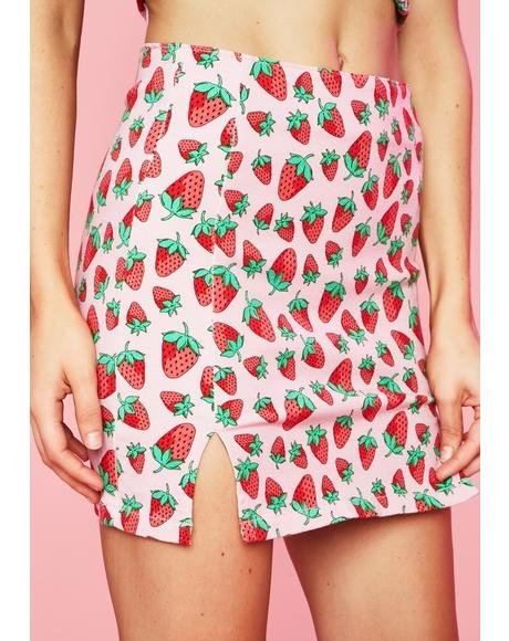 Strawberry Fields Denim Skirt