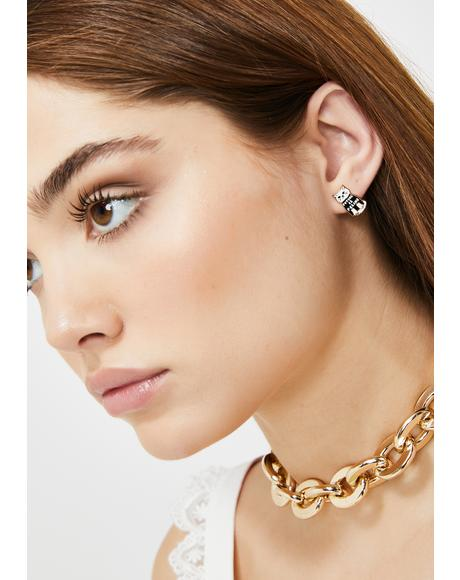 Gurrl Power Cat Gold Stud Earrings