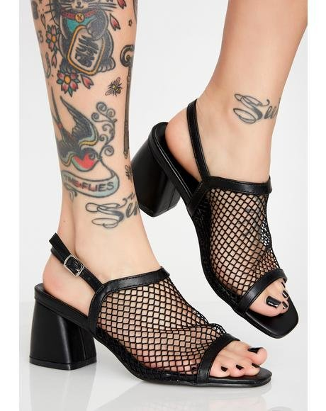 Wicked Mesh Fetish Heeled Mules