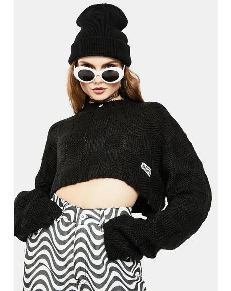 Creep Waffle Knit Crop Sweater