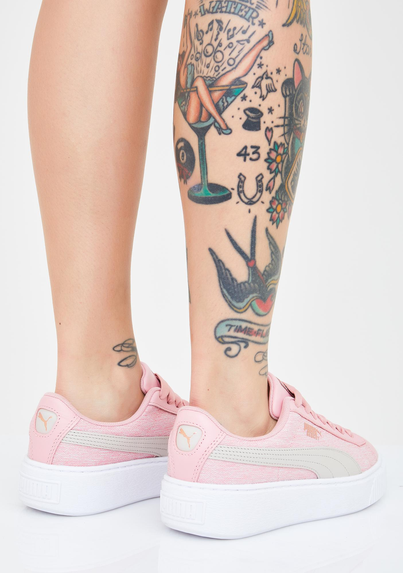 PUMA Platform Woven Rose Sneakers