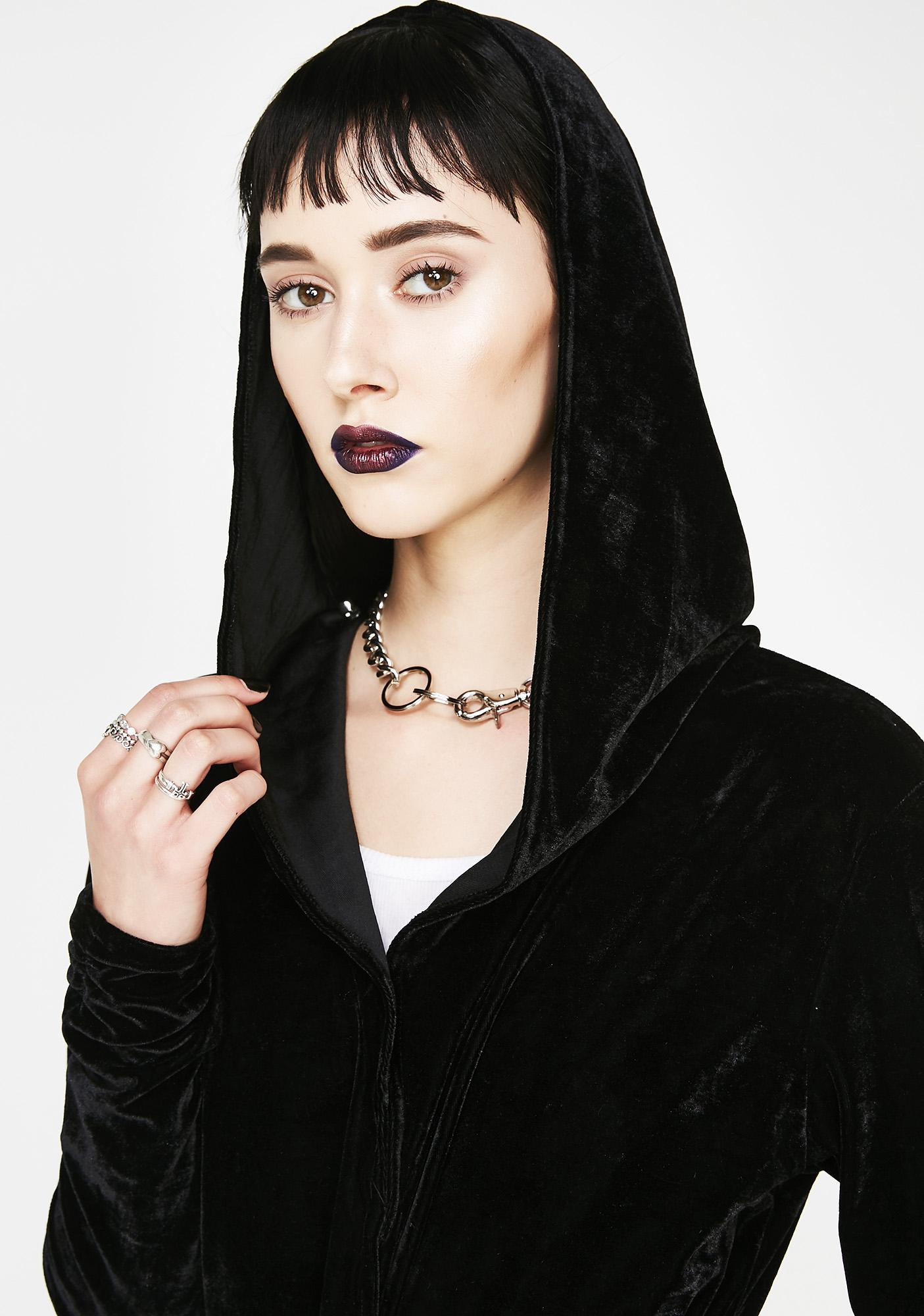 Necessary Evil Artemis Velvet Draped Hoodie