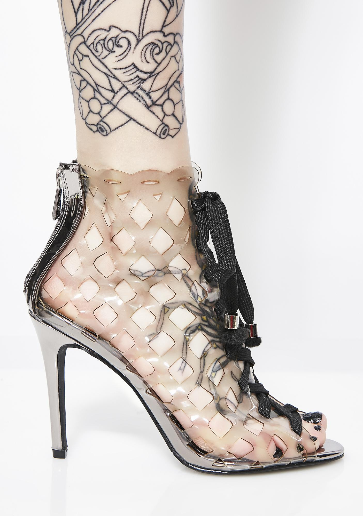 Caged In Lace-Up Booties