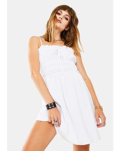 White Scrunch Tube Dress