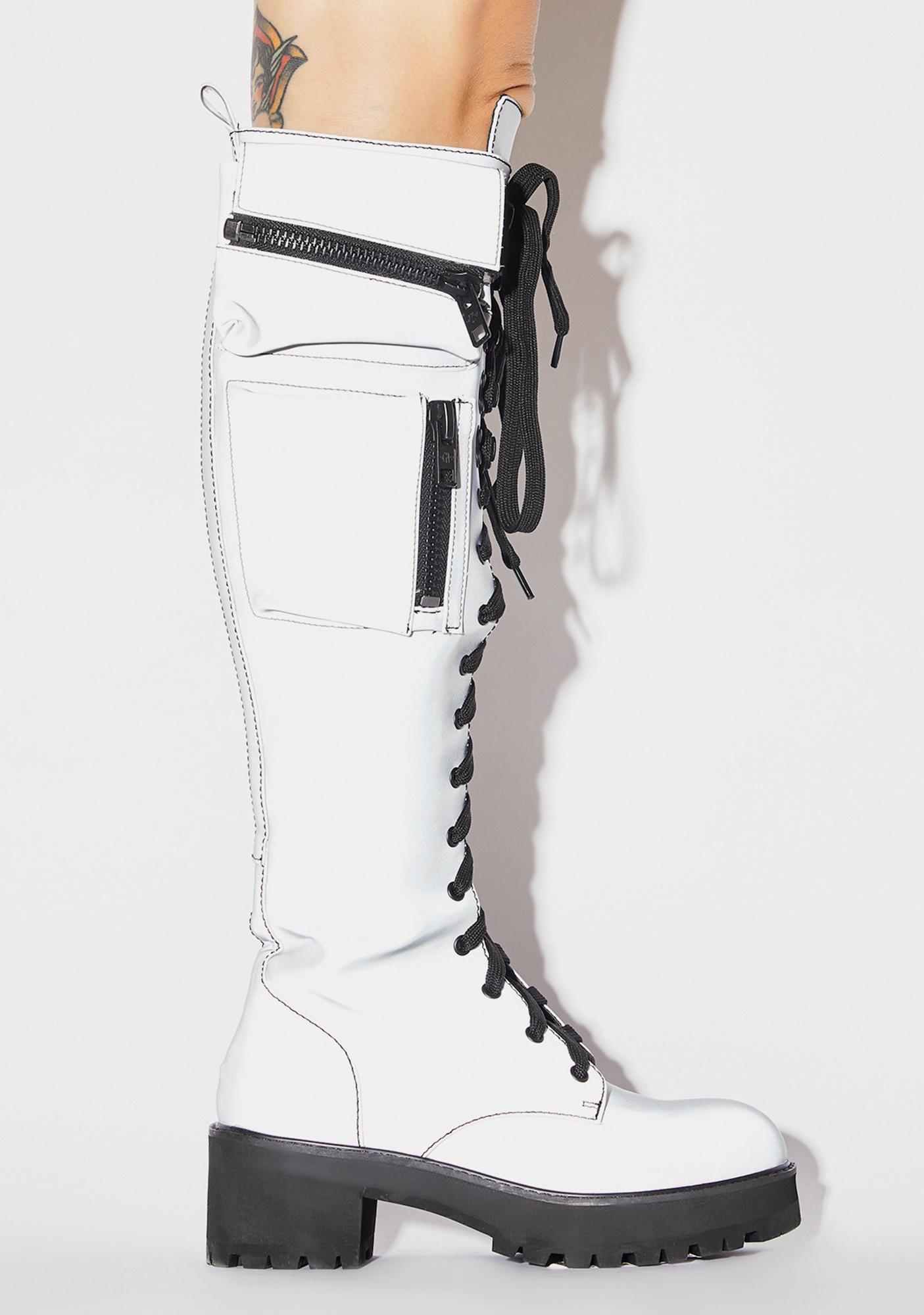 Current Mood Reflective Obsidian Pocket Combat Boots