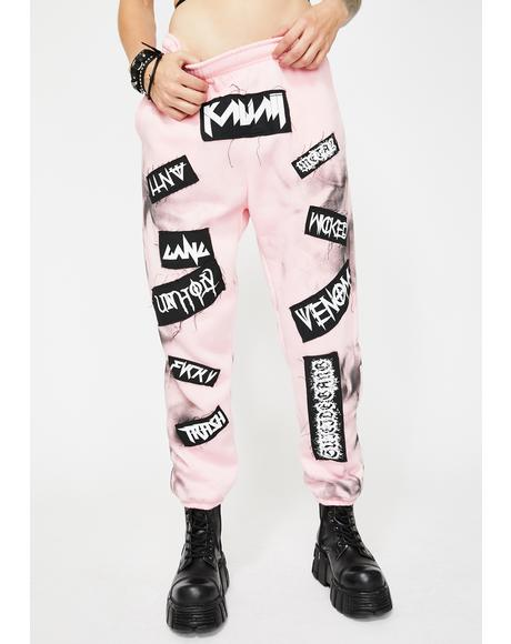 Pink Tie Dye Patch Joggers