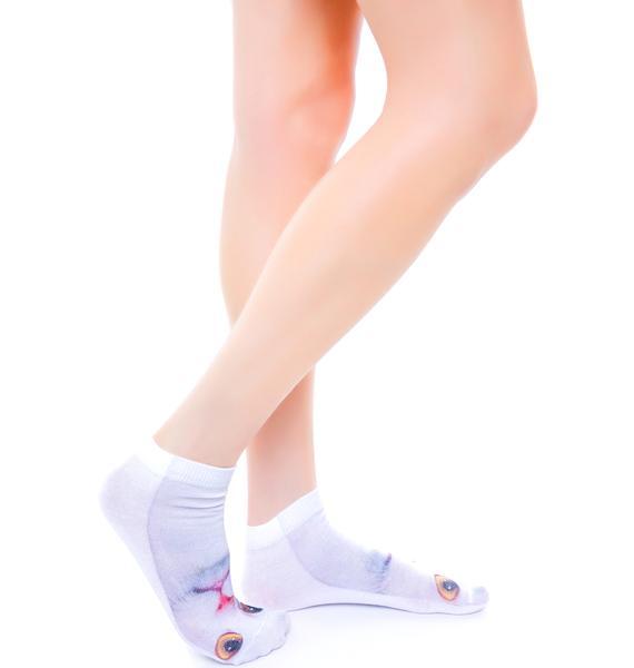 White Cat Below Ankle Socks