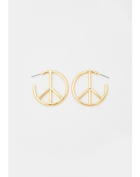 Only Good Vibez Peace Sign Earrings