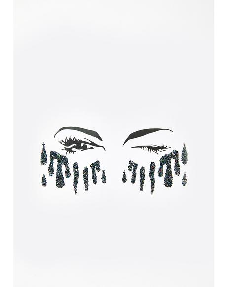 Black Glitter Tears Stickers