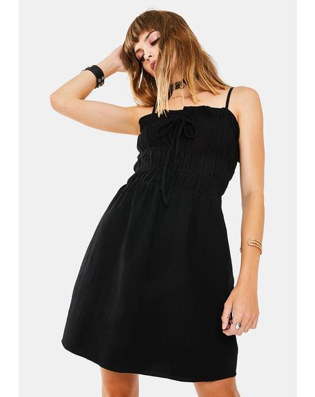 Black Scrunch Tube Dress