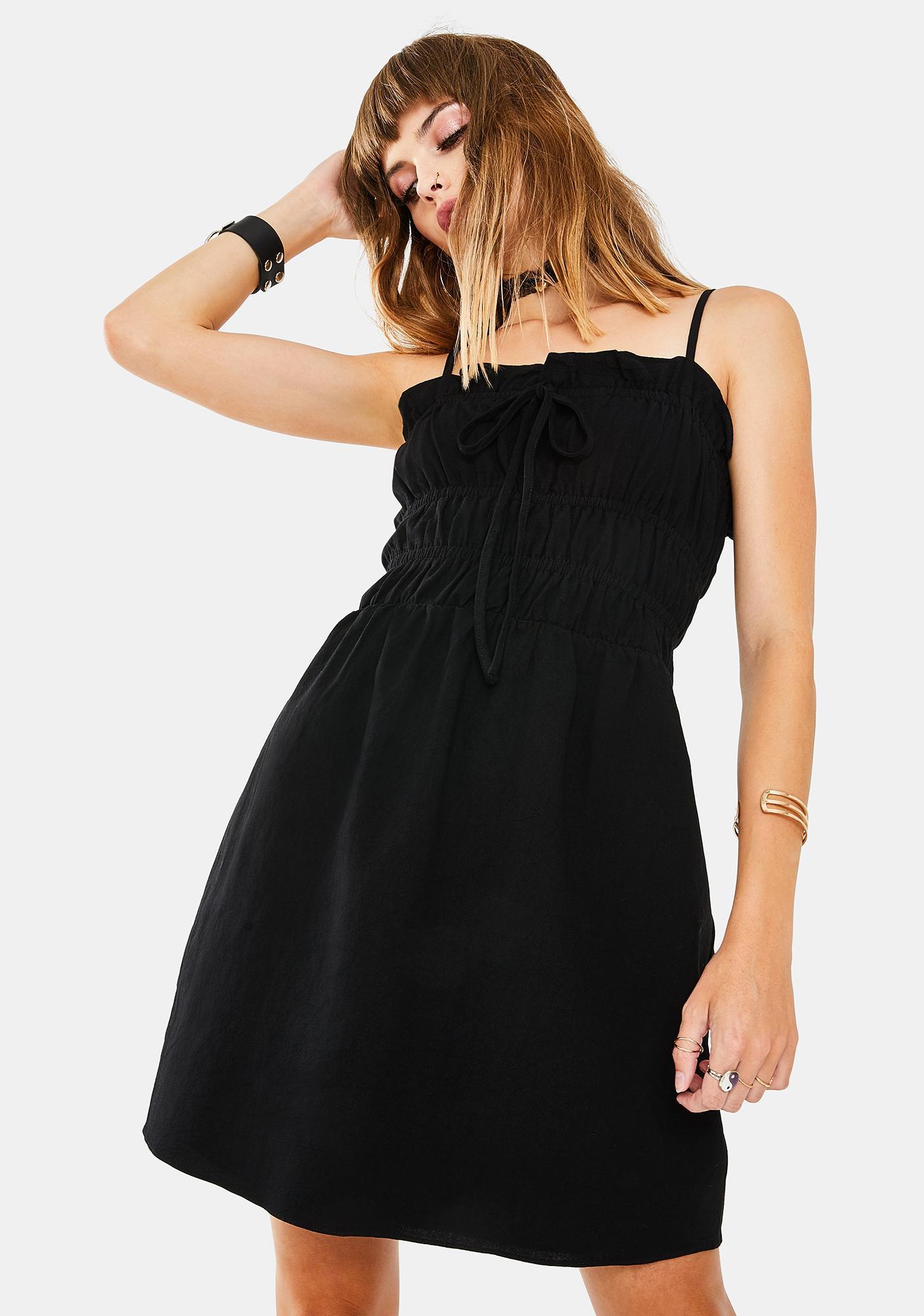 Glamorous Black Scrunch Tube Dress