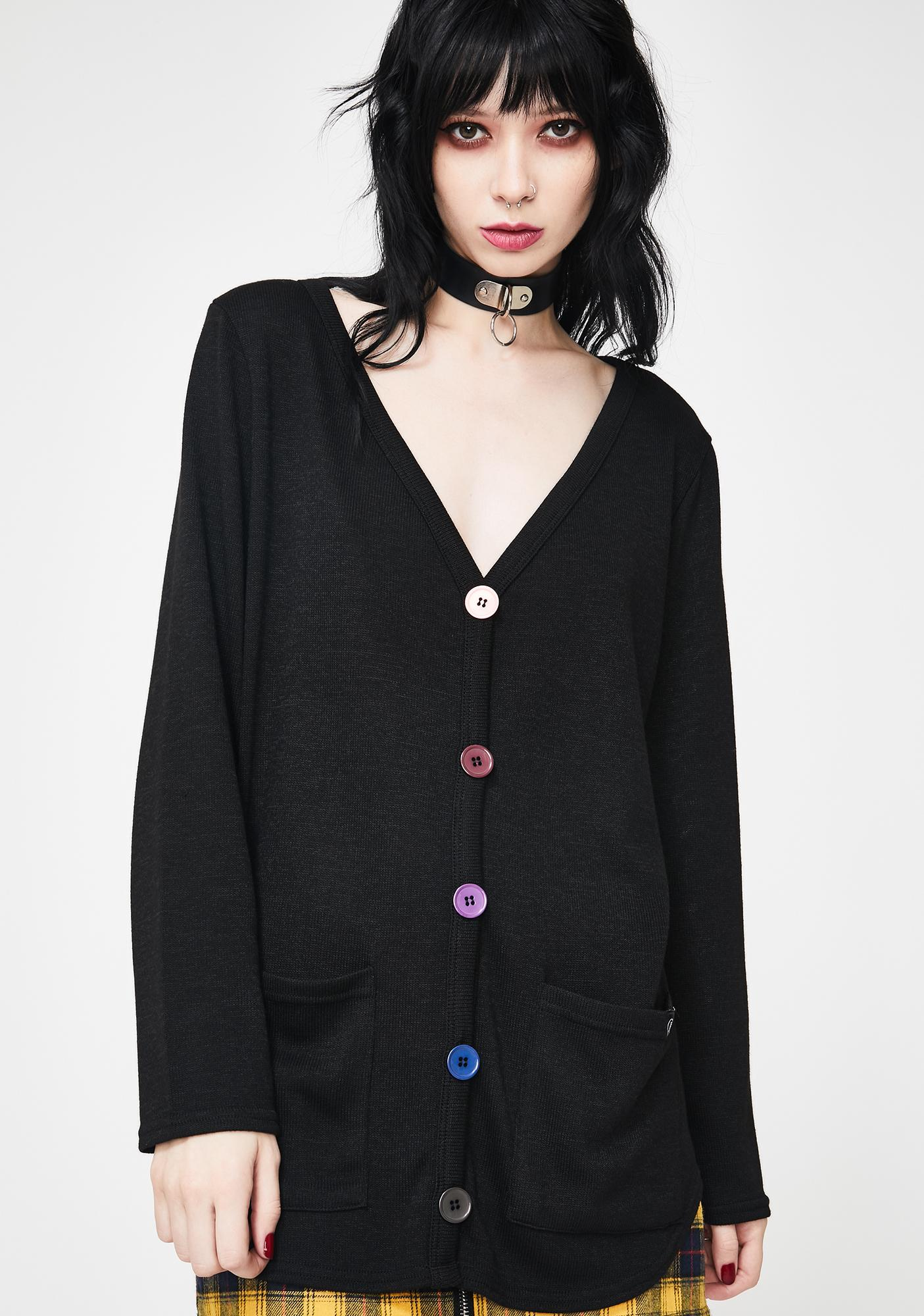 Fearless Illustration Rain Cloud Button Up Cardigan