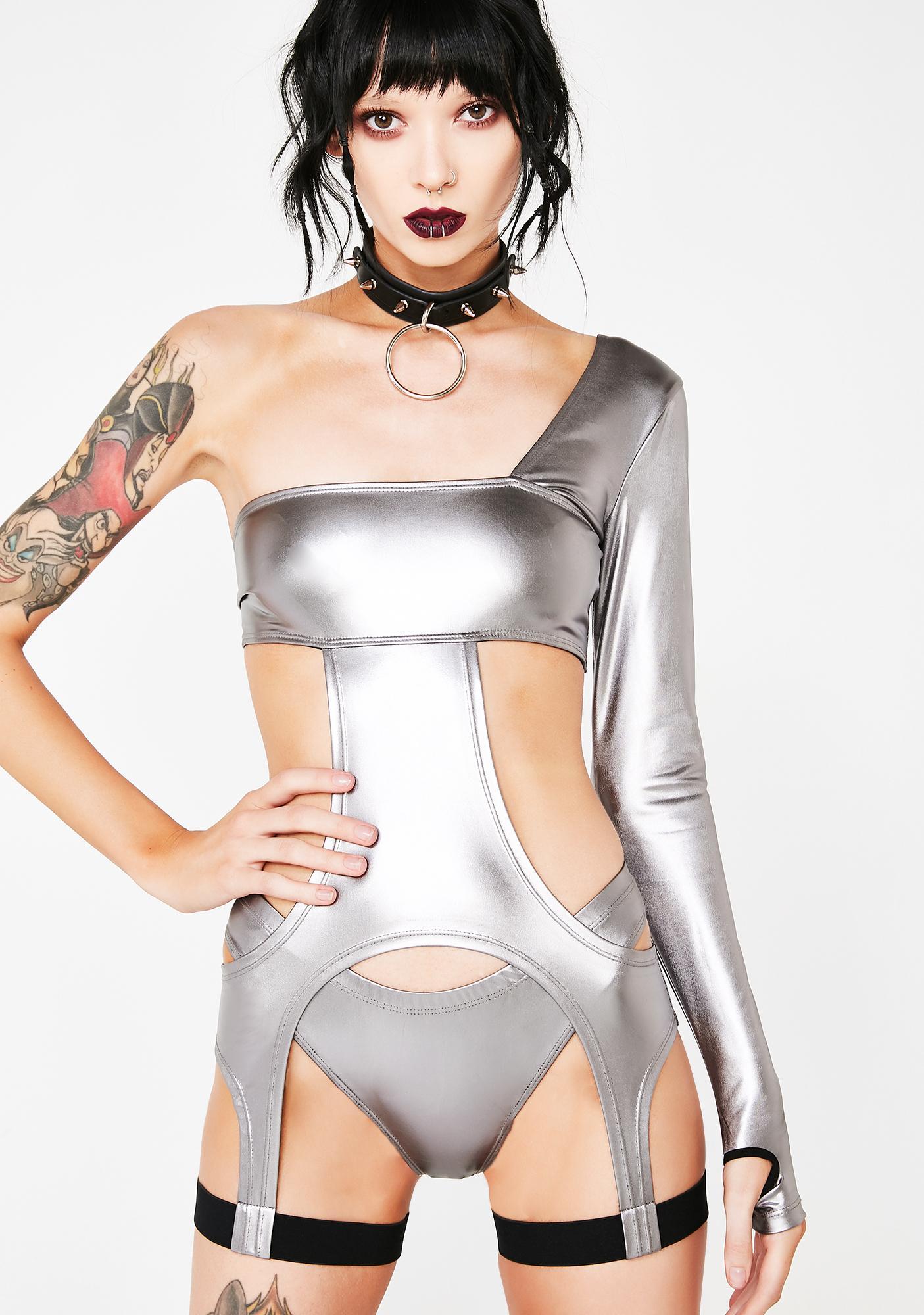 Club Exx Chrome Obscura Inferno Cutout Bodysuit