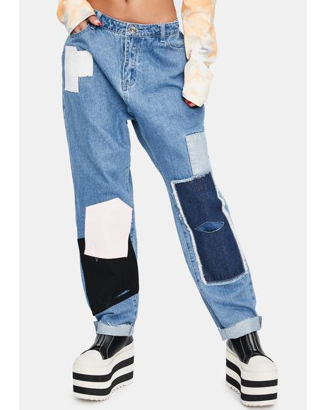 Patchwork Mom Jeans