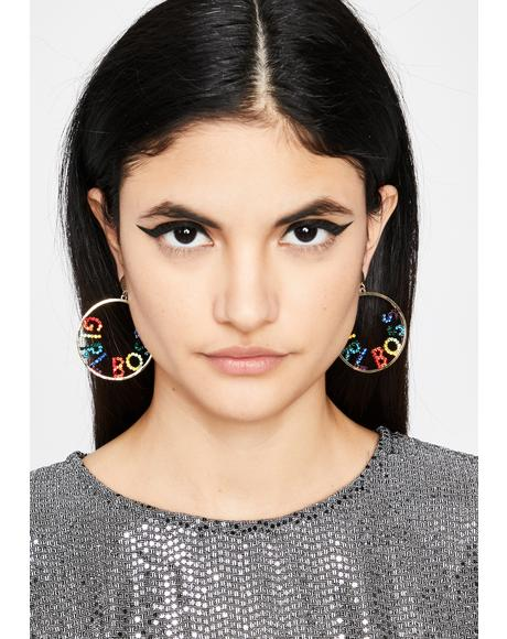 I'm The Boss Hoop Earrings