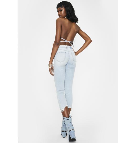 Daze Call You Back Denim Crop Skinny Jeans