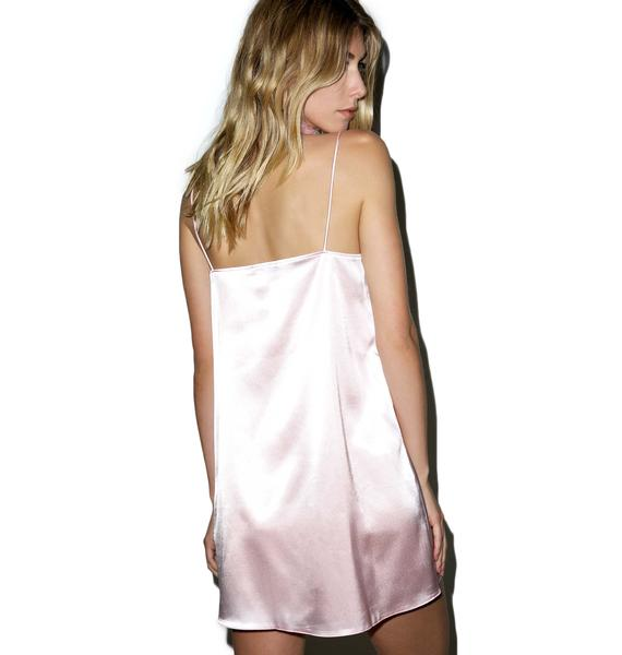 Local Heroes Kitten Pink Slip Satin Dress