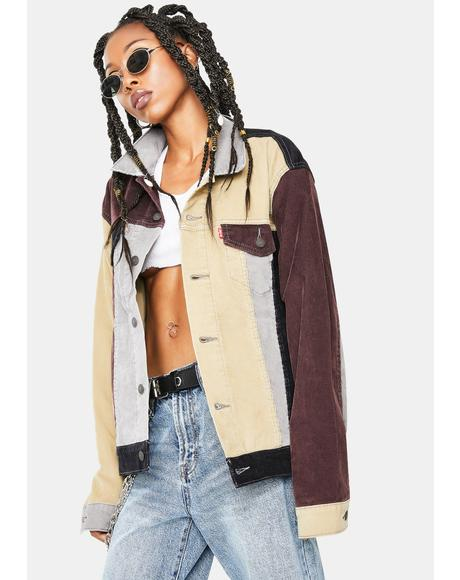 Color Block Cord Trucker Jacket