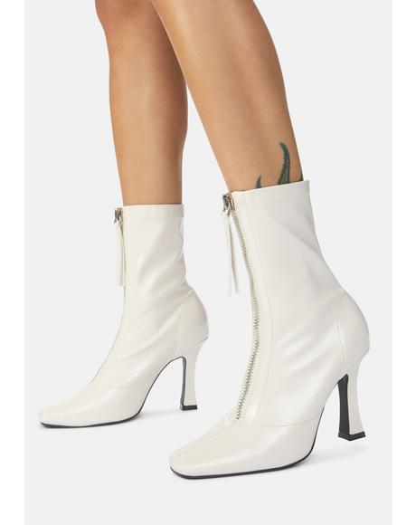 White Peppa Zip Up Ankle Boots