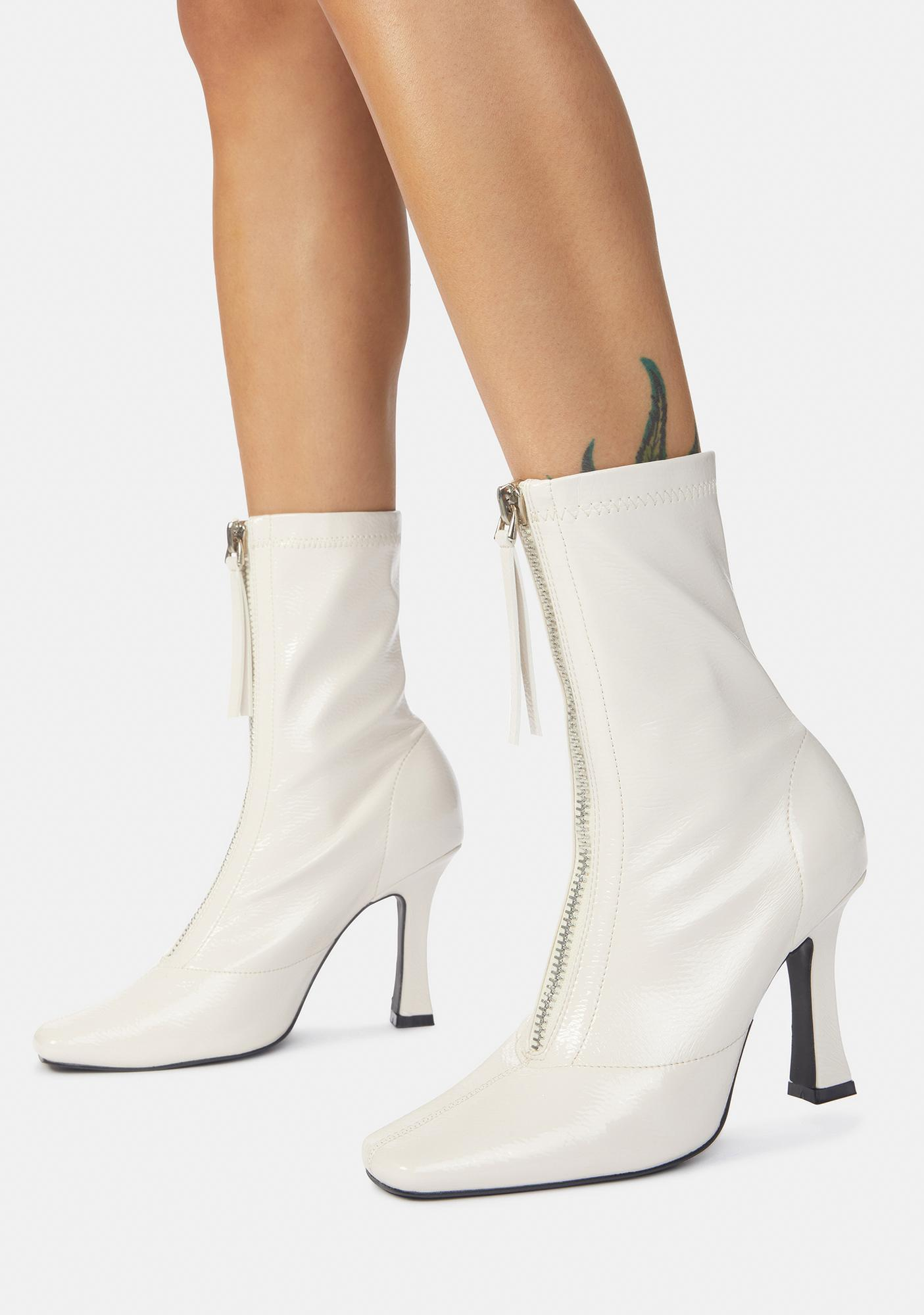 Public Desire White Peppa Zip Up Ankle Boots
