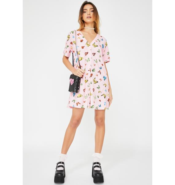 Motel Pink Butterfly Crosena Dress