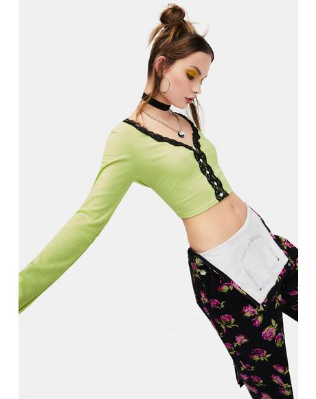 Highly Selective Pointelle Lace Crop Top