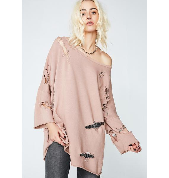 Kiki Riki Keep It Together Distressed Sweater
