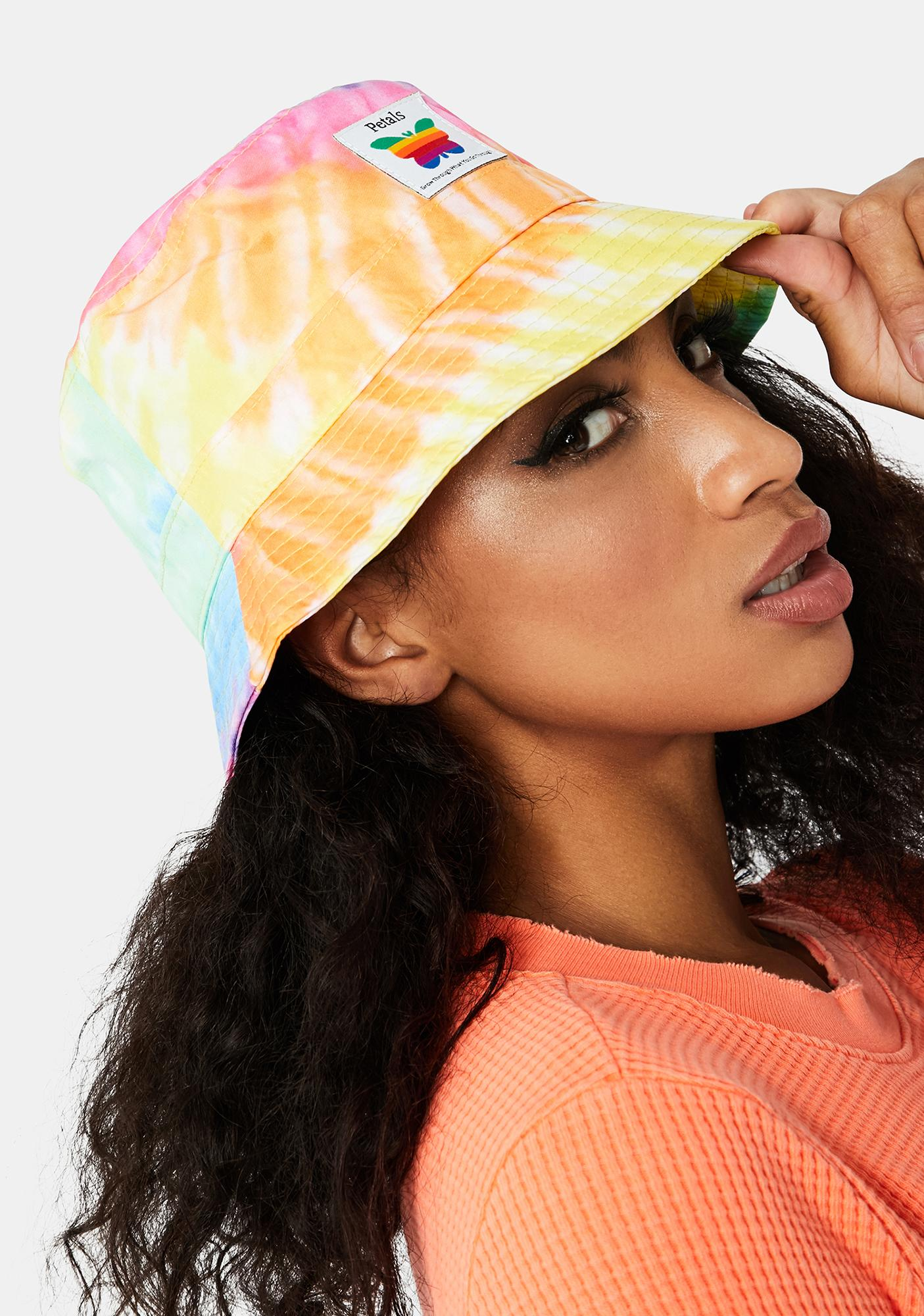 Petals and Peacocks Think Growth Tie Dye Bucket Hat