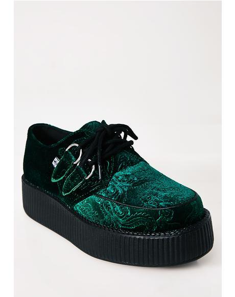 Emerald Embossed Velvet Mondo Viva Creepers