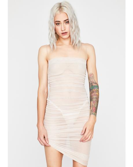 Nude Fire Desire Mesh Dress