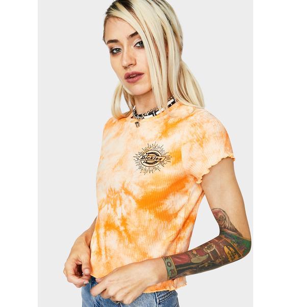 Dickies Girl Apricot Lettuce Edge Tie Dye Tee