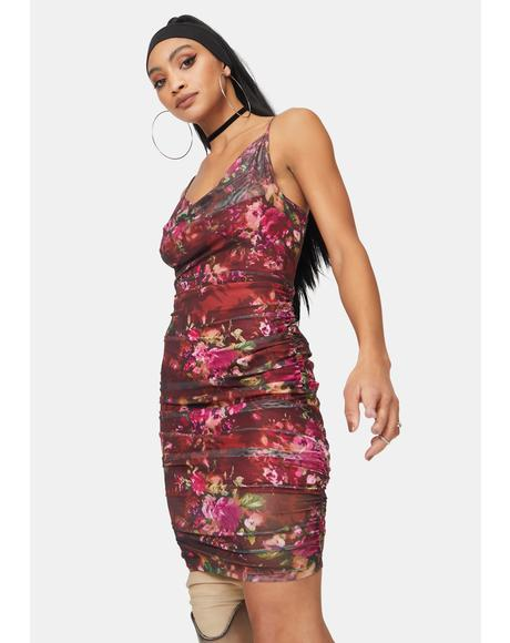 Glitter Print Mesh Ruched Floral Mini Dress