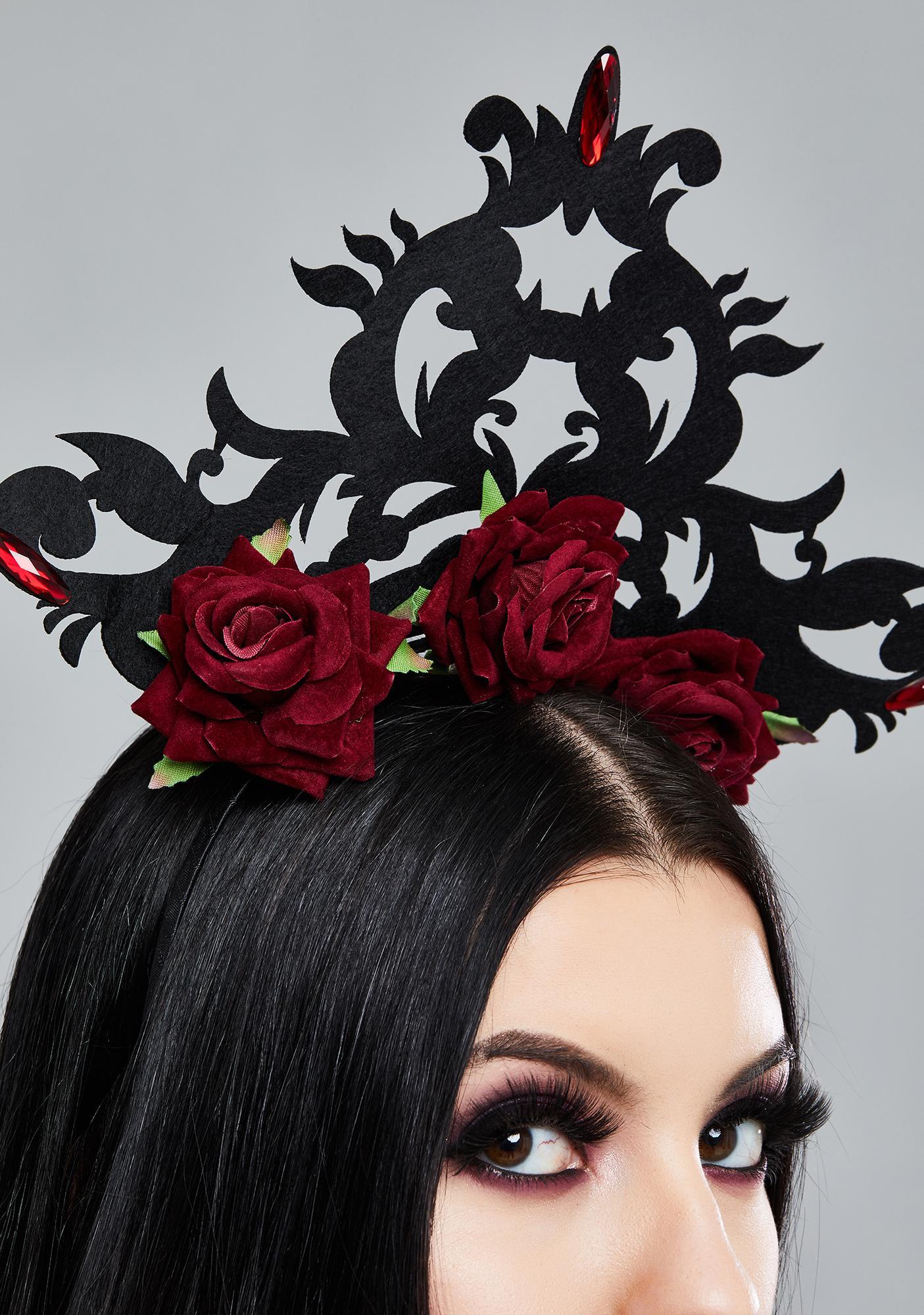 Dark In Love Red Rose Gothic Headpiece