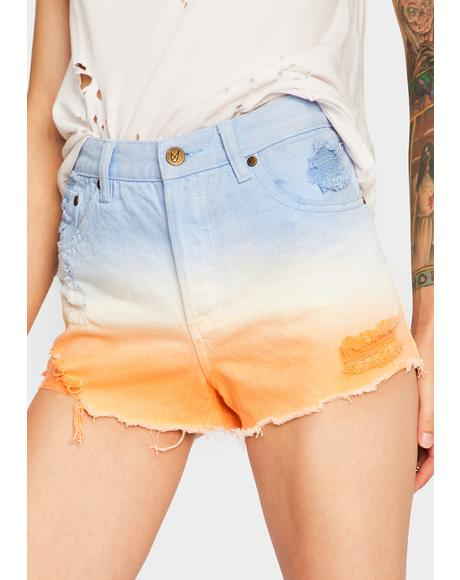 Fade Away Trashed Denim Shorts