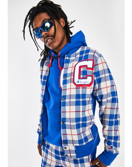 Plaid Reverse Weave Baseball Jacket