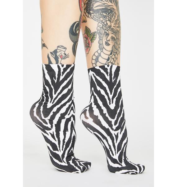 MeMoi Zebra Stripe Ankle Socks
