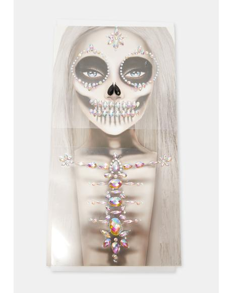 Skeleton Scare Face And Body Jewels
