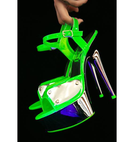 Pleaser Highlights Glow In The Dark Platform Heels