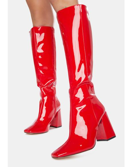 Apology Patent Knee High Boots