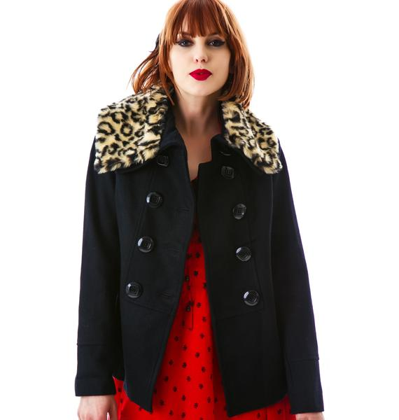 Ferosh Leopard Fur Collared Jacket