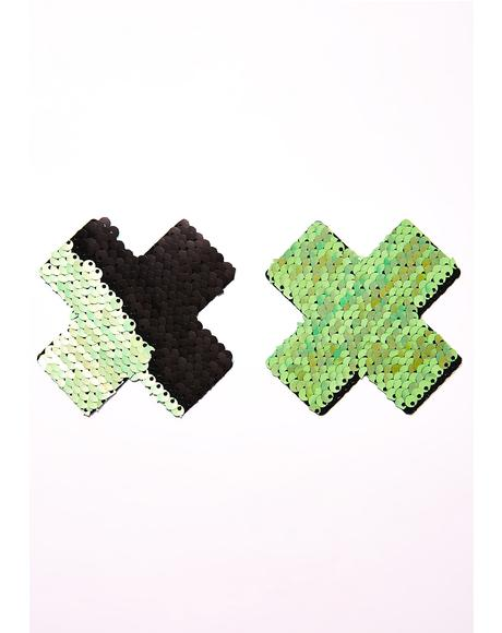 Green X Sequin Pasties