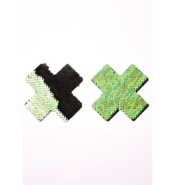 Neva Nude Green X Sequin Pasties