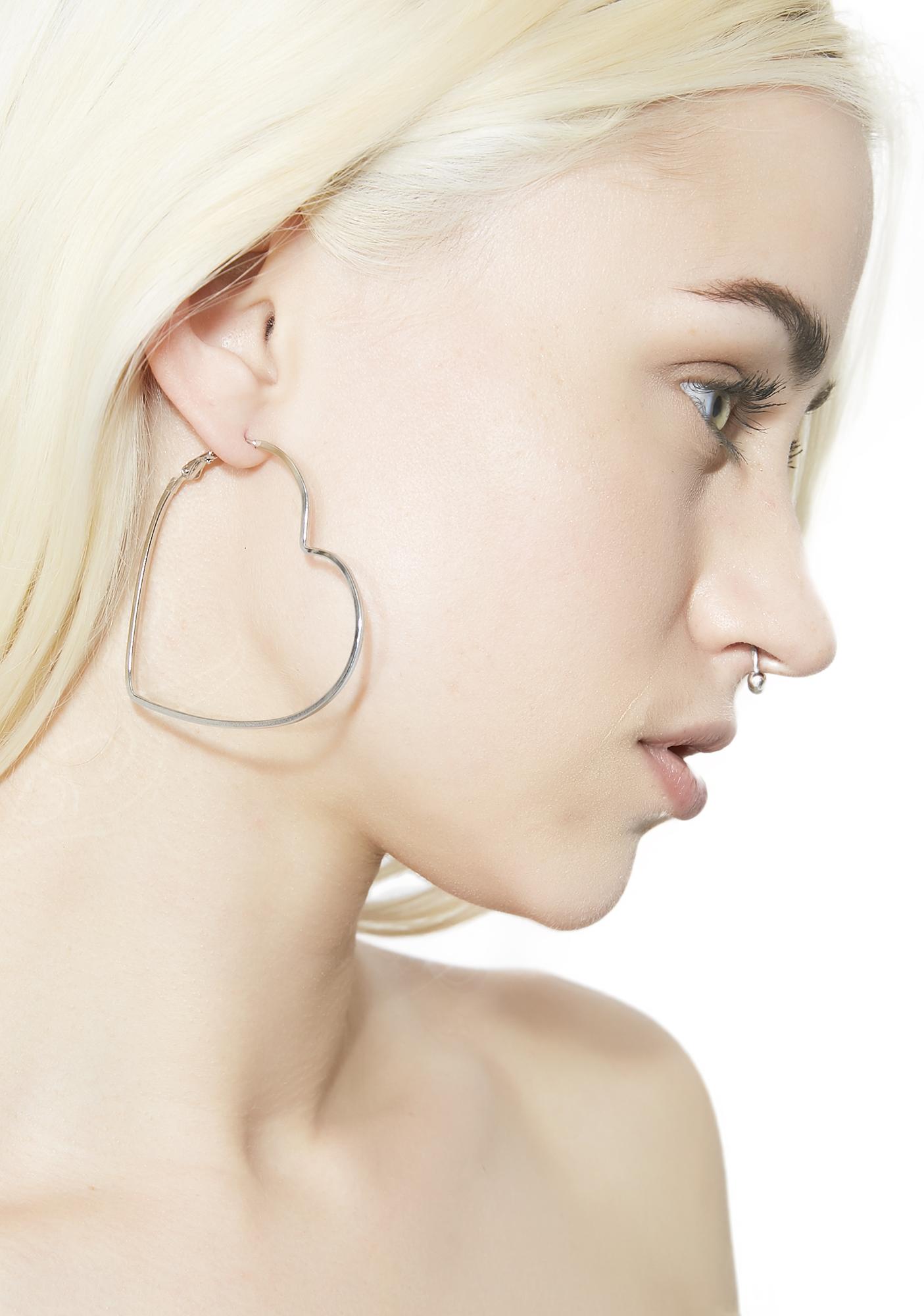 Heart Hoop Earrings Silver