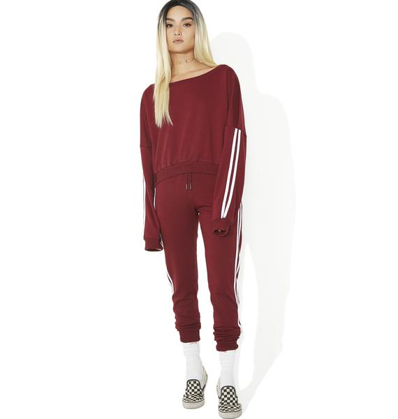 Game Time Cropped Striped Sweatshirt