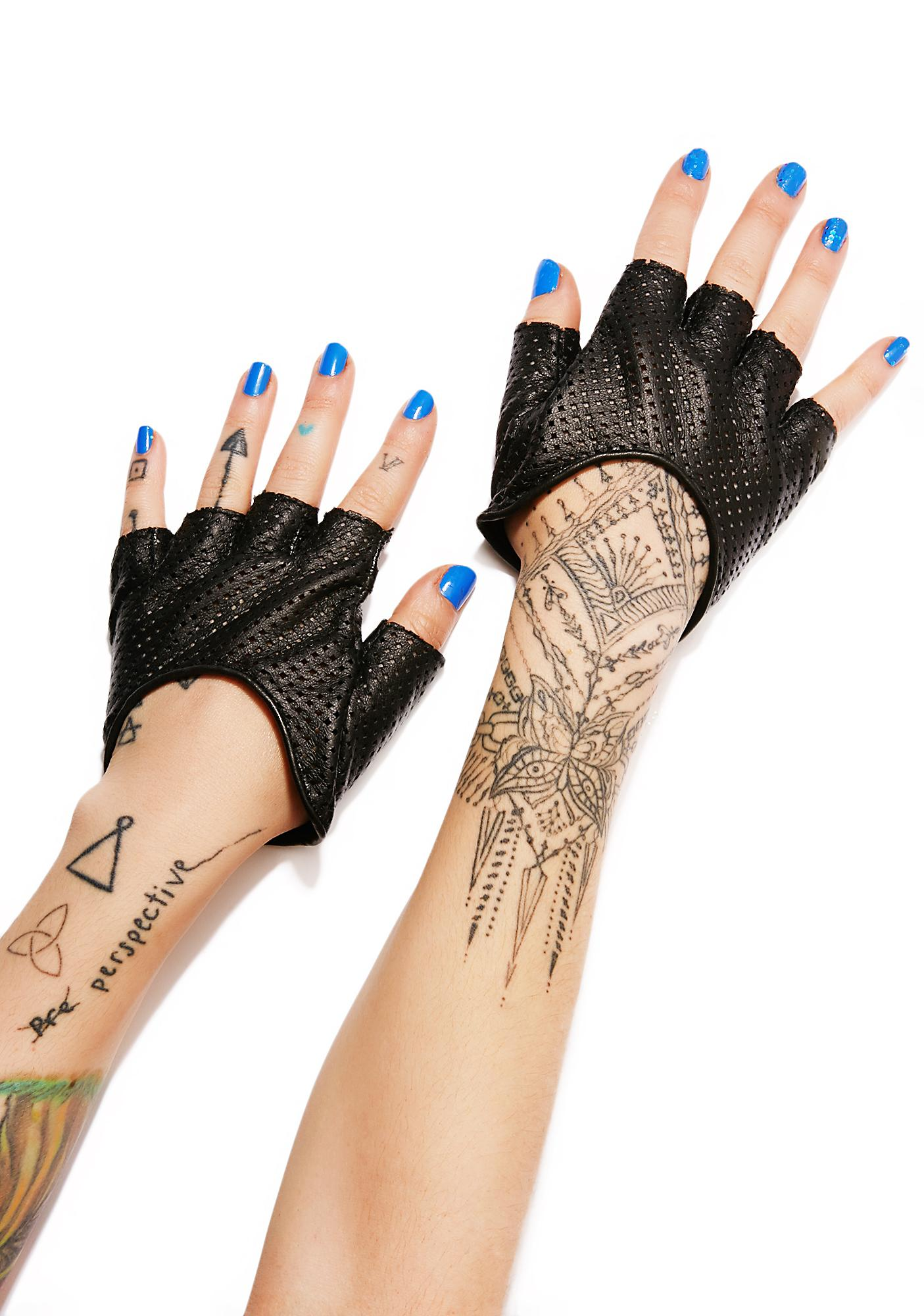 Five and Diamond Steam Trunk Perforated Half Gloves