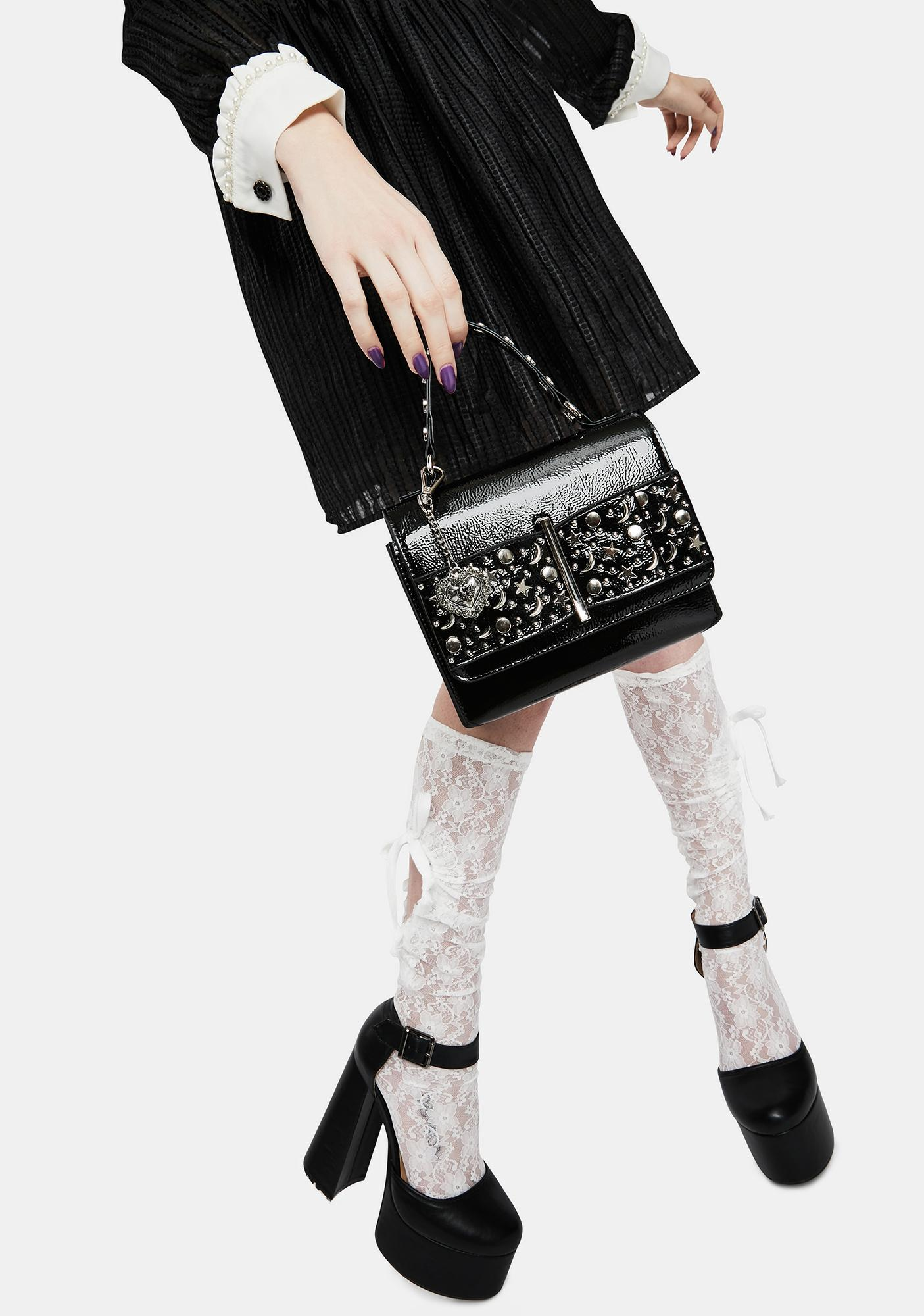 Betsey Johnson Black Stud Up About It Bow Bag