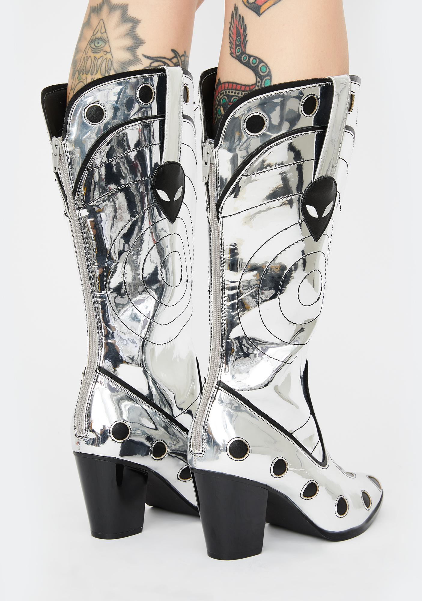 Y.R.U. UFO Chrome Space Cowgirl Metallic Boots